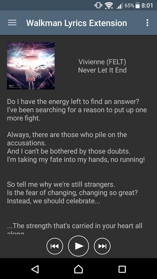 Walkman Lyrics Extension » Apk Thing - Android Apps Free